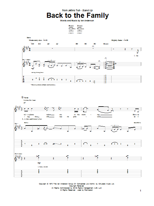Back To The Family sheet music for guitar solo (tablature) by Ian Anderson