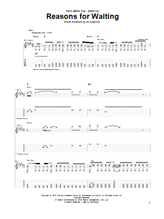 Tablature guitare Reasons For Waiting de Jethro Tull - Tablature Guitare