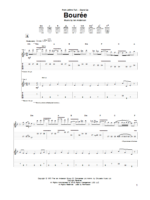 Tablature guitare Bouree de Jethro Tull - Tablature Guitare