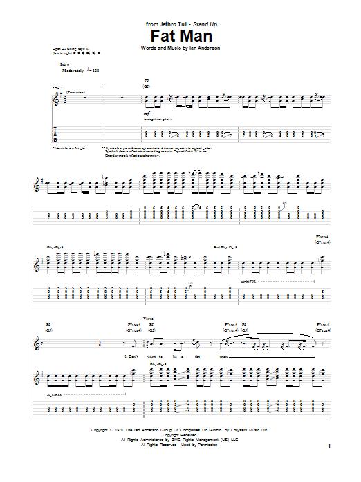 Tablature guitare Fat Man de Jethro Tull - Tablature Guitare