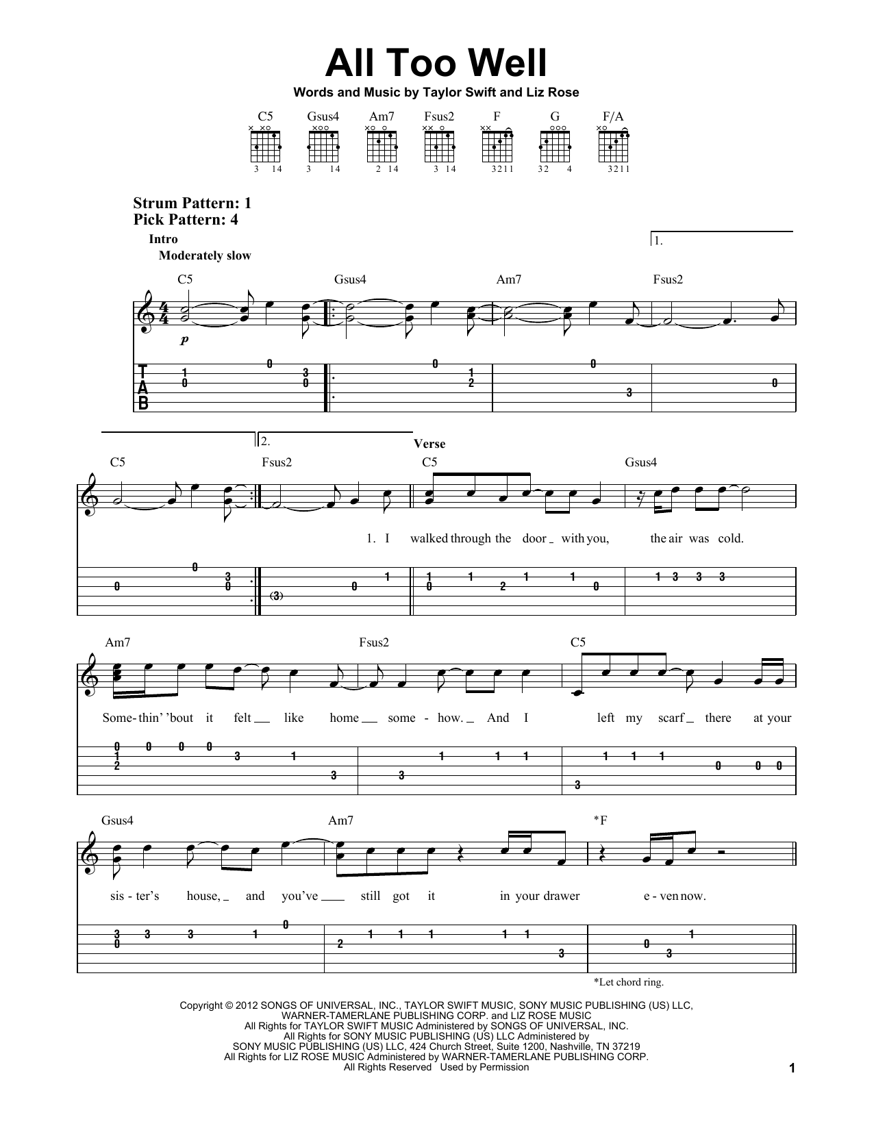 All Too Well sheet music for guitar solo (easy tablature) by Taylor Swift