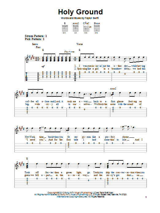 Holy Ground sheet music for guitar solo (easy tablature) by Taylor Swift