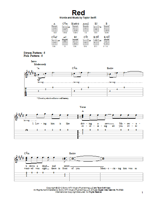 Tablature guitare Red de Taylor Swift - Tablature guitare facile