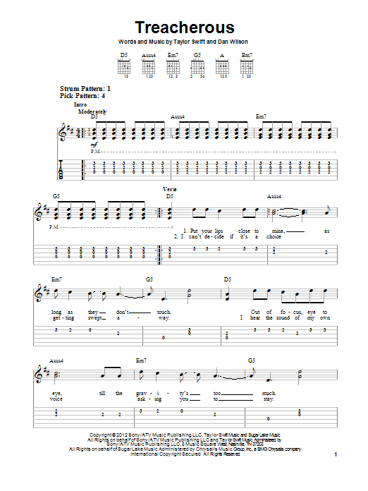 Tablature guitare Treacherous de Taylor Swift - Tablature guitare facile