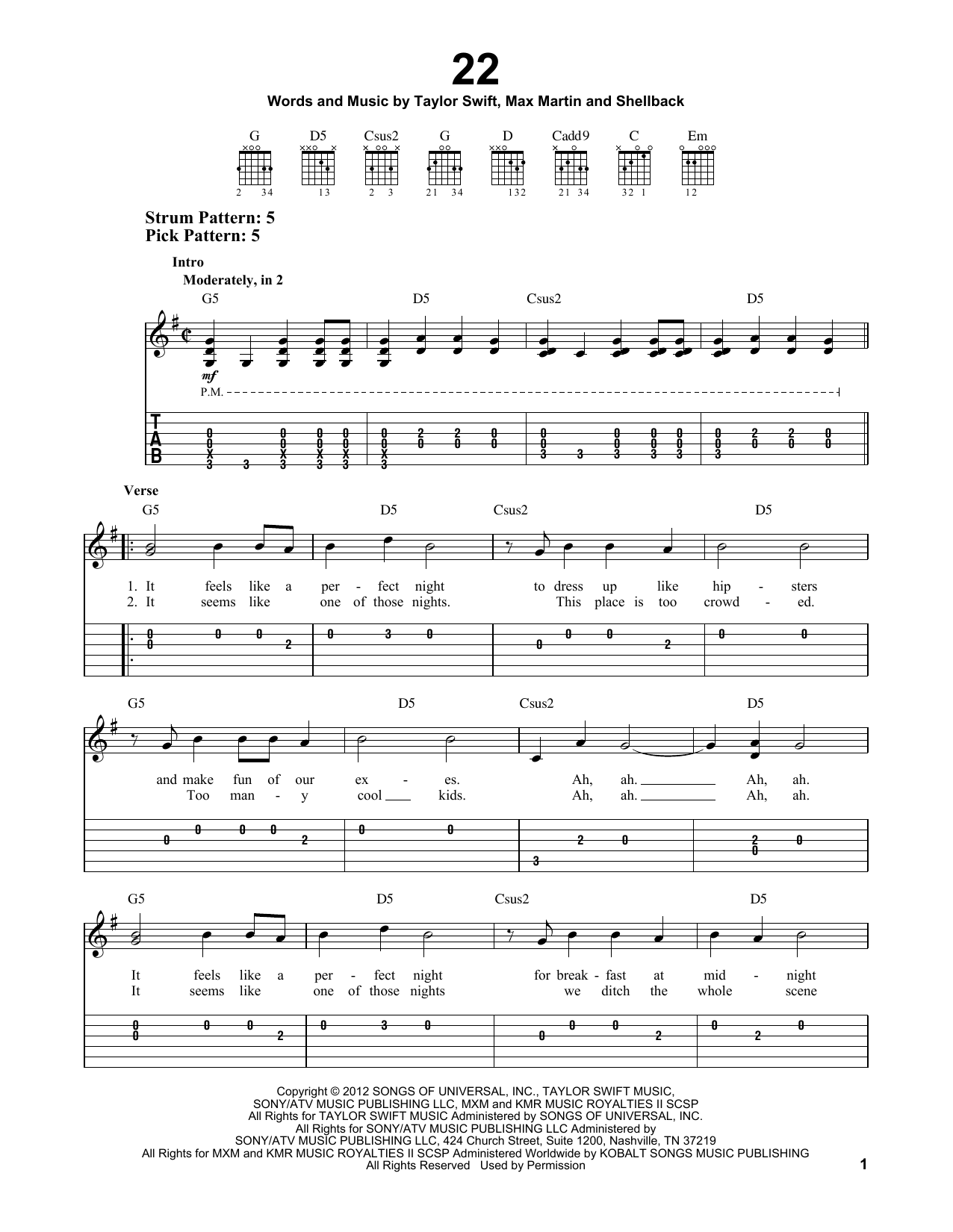 22 sheet music for guitar solo (easy tablature) by Taylor Swift