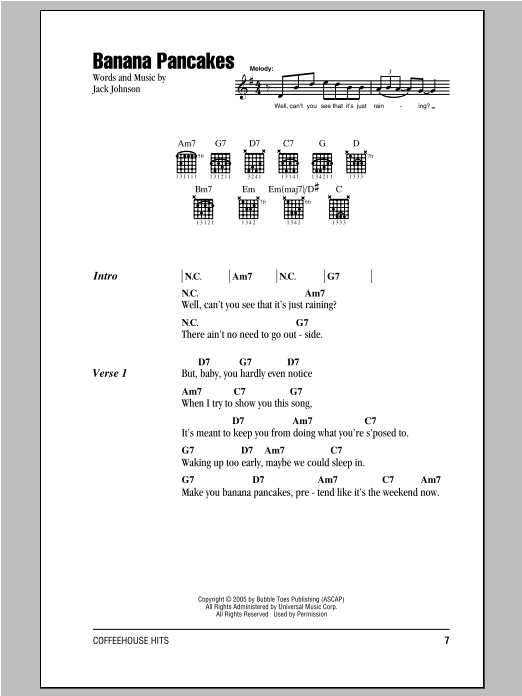 Banana Pancakes sheet music for guitar solo (chords, lyrics, melody) by Jack Johnson