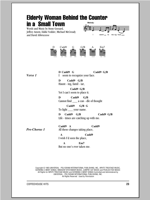 Elderly Woman Behind The Counter In A Small Town sheet music for guitar solo (chords, lyrics, melody) by Pearl Jam