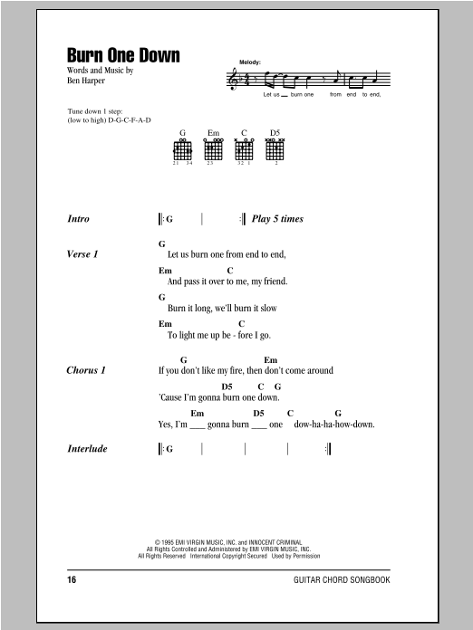 Burn One Down sheet music for guitar solo (chords, lyrics, melody) by Ben Harper