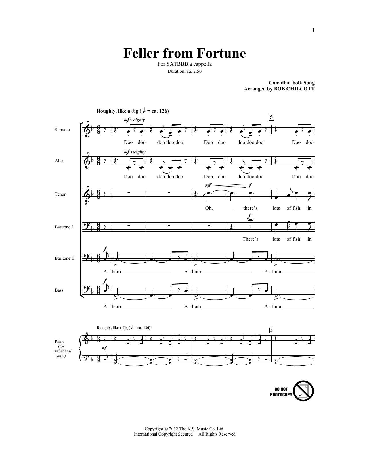 Partition chorale Feller From Fortune de Bob Chilcott - SATB