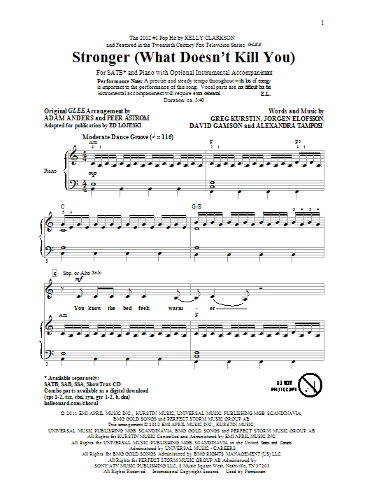 Stronger (What Doesn't Kill You) sheet music for choir and piano (SATB) by Ed Lojeski