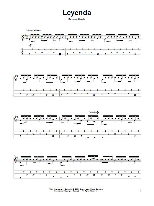 Tablature guitare Leyenda de Isaac Albeniz - Tablature Guitare