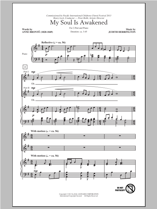 My Soul Is Awakened sheet music for choir and piano (duets) by Judith Herrington