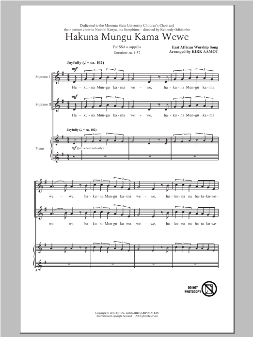 Hakuna Mungu Kama Wewe sheet music for choir and piano (SSA) by Kirk Aamot