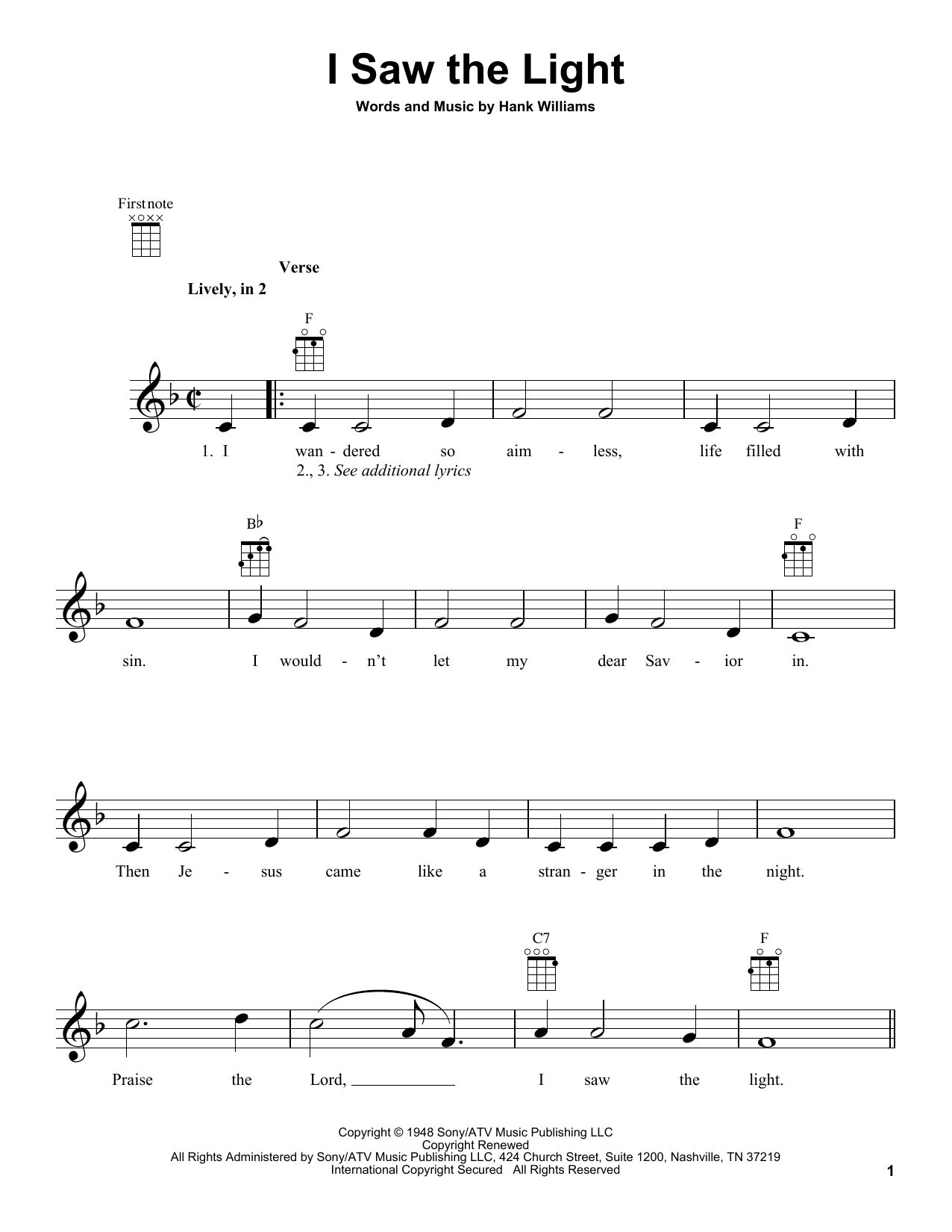 Tablature guitare I Saw The Light de Hank Williams - Ukulele