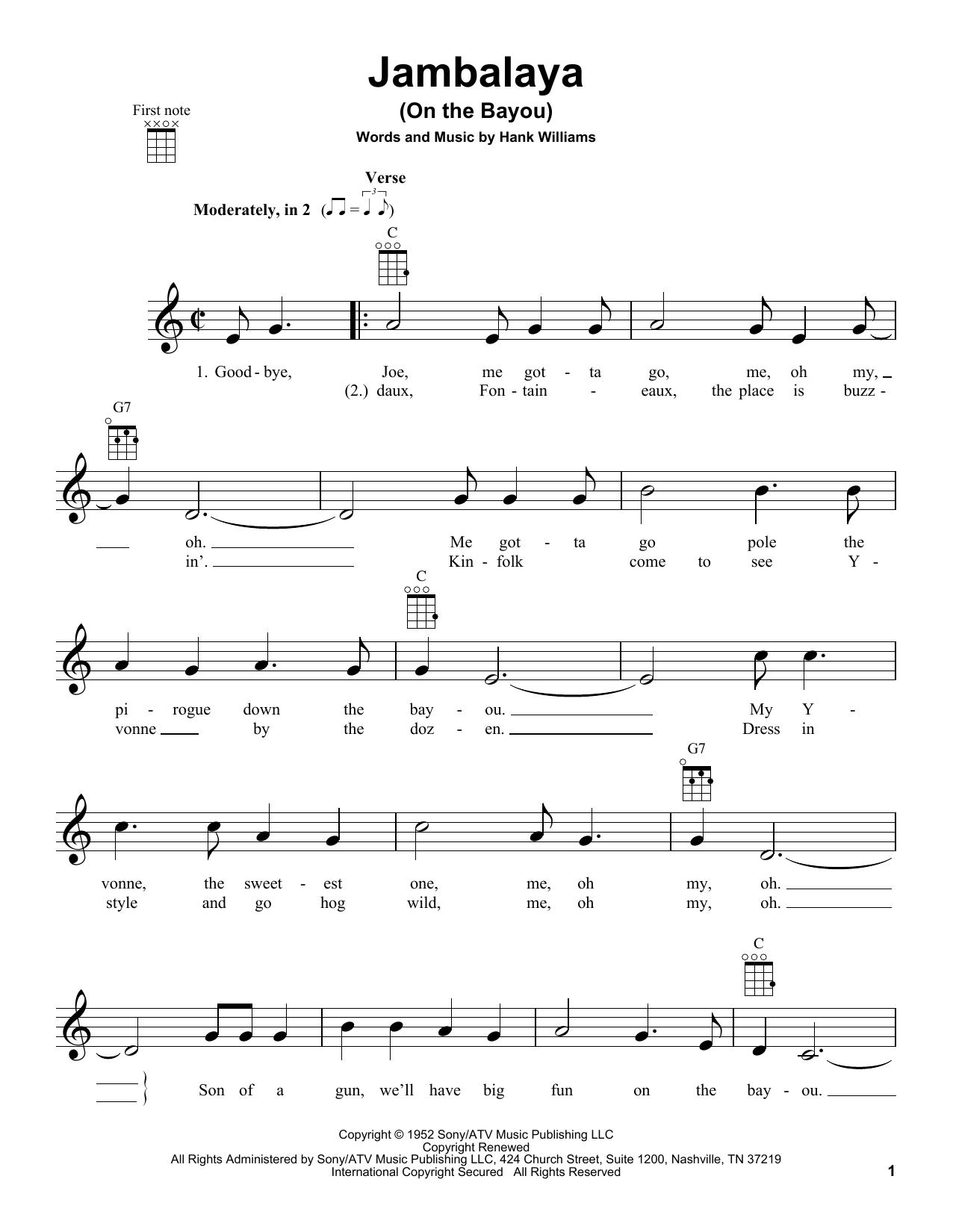 Tablature guitare Jambalaya (On The Bayou) de Hank Williams - Ukulele