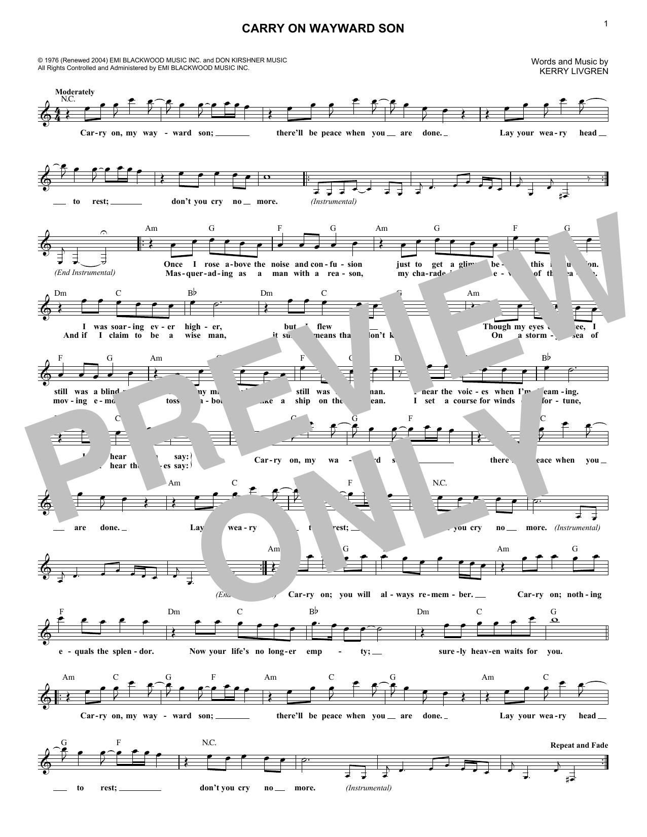 Sheet Music Digital Files To Print Licensed Kerry Livgren Digital