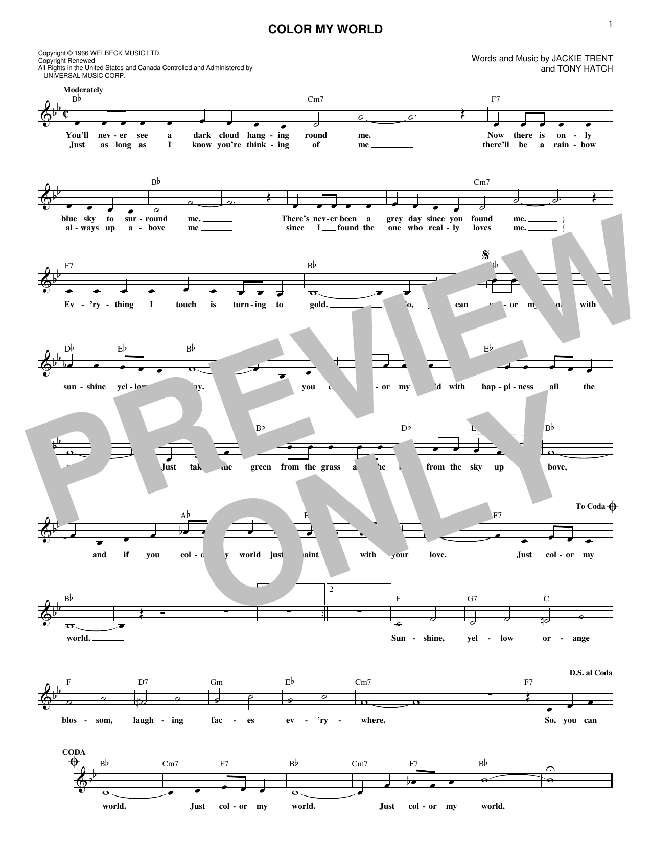 Sheet Music Digital Files To Print - Licensed Petula Clark Digital ...