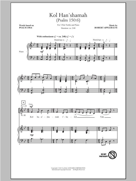Partition chorale Kol Han'shamah de Robert Applebaum - 3 voix egales