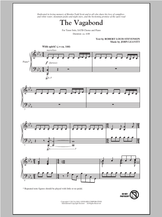 Partition autre The Vagabond de John Leavitt - SATB