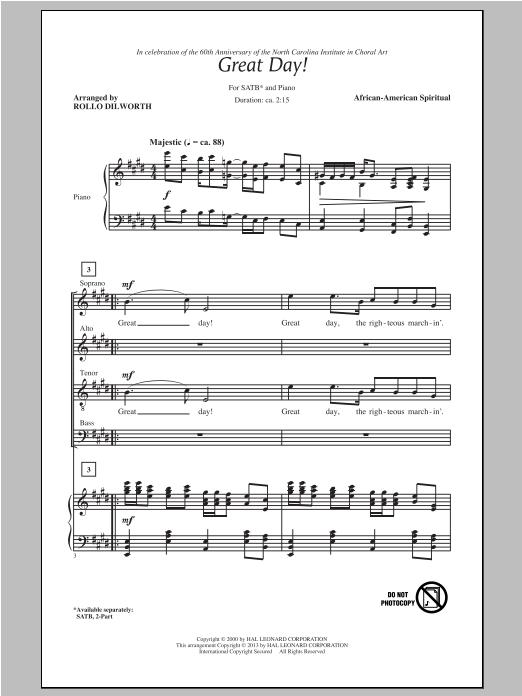 Partition chorale Great Day de Rollo Dilworth - SATB