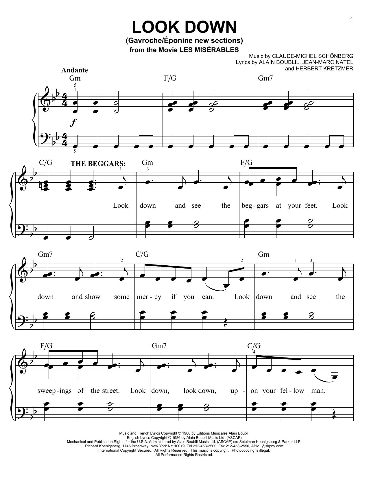 Partition piano Look Down (Gavroche) de Claude-Michel Schonberg - Piano Facile