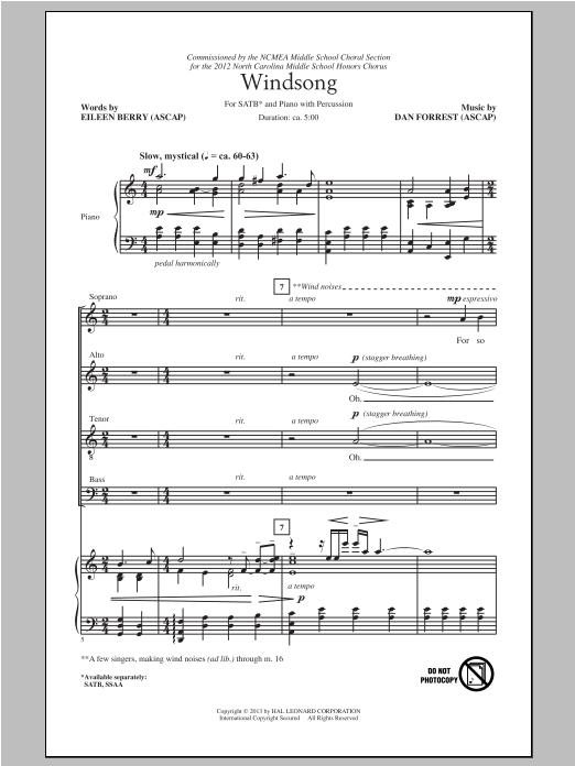 Partition chorale Windsong de Dan Forrest - SATB
