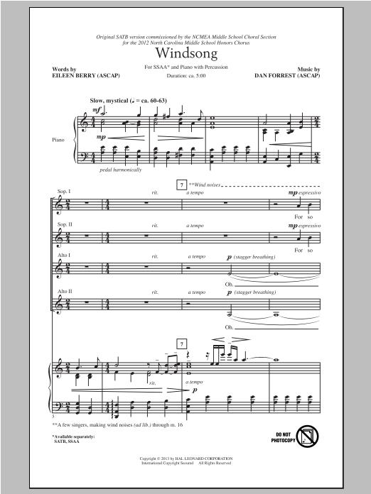 Partition chorale Windsong de Dan Forrest - SSA