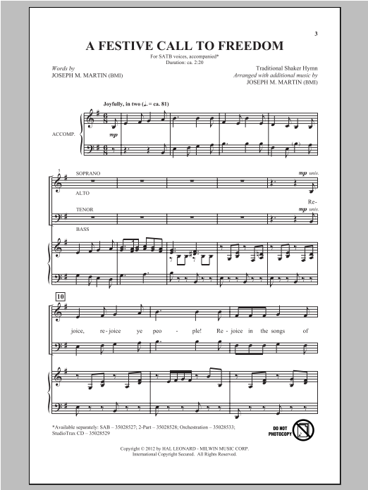 A Festive Call To Freedom sheet music for choir and piano (SATB) by Joseph M. Martin