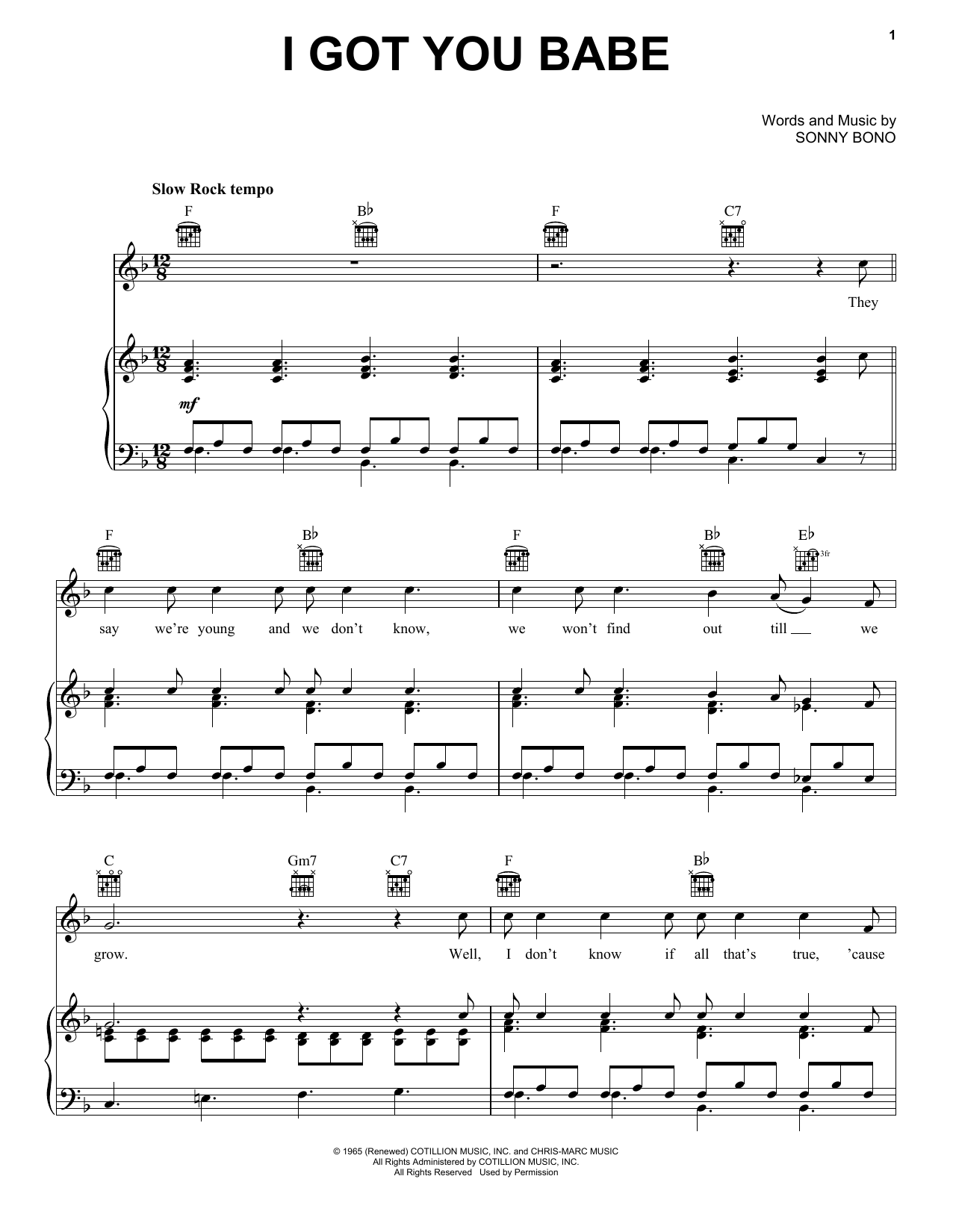 Partition piano I Got You Babe de Sonny & Cher - Piano Voix Guitare (Mélodie Main Droite)