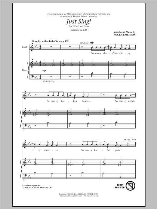 Partition chorale Just Sing de Roger Emerson - 2 voix
