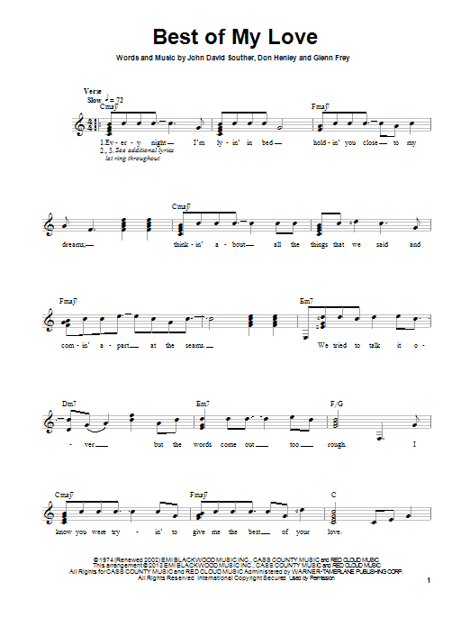 Tablature guitare Best Of My Love de Eagles - Tablature guitare facile