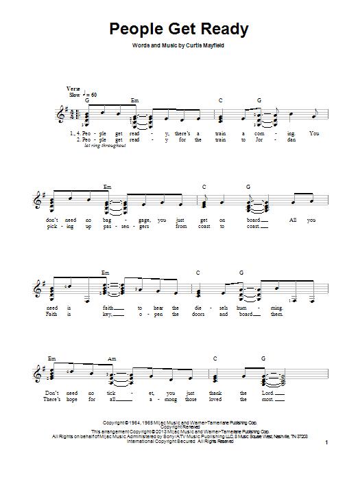 Tablature guitare People Get Ready de Bob Marley - Tablature guitare facile