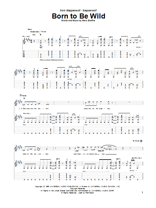 Tablature guitare Born To Be Wild de Steppenwolf - Tablature Guitare