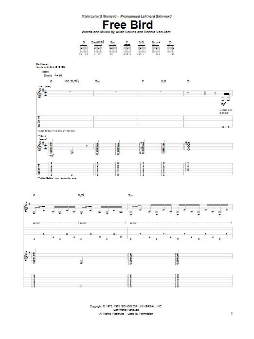 Tablature guitare Free Bird de Lynyrd Skynyrd - Tablature Guitare