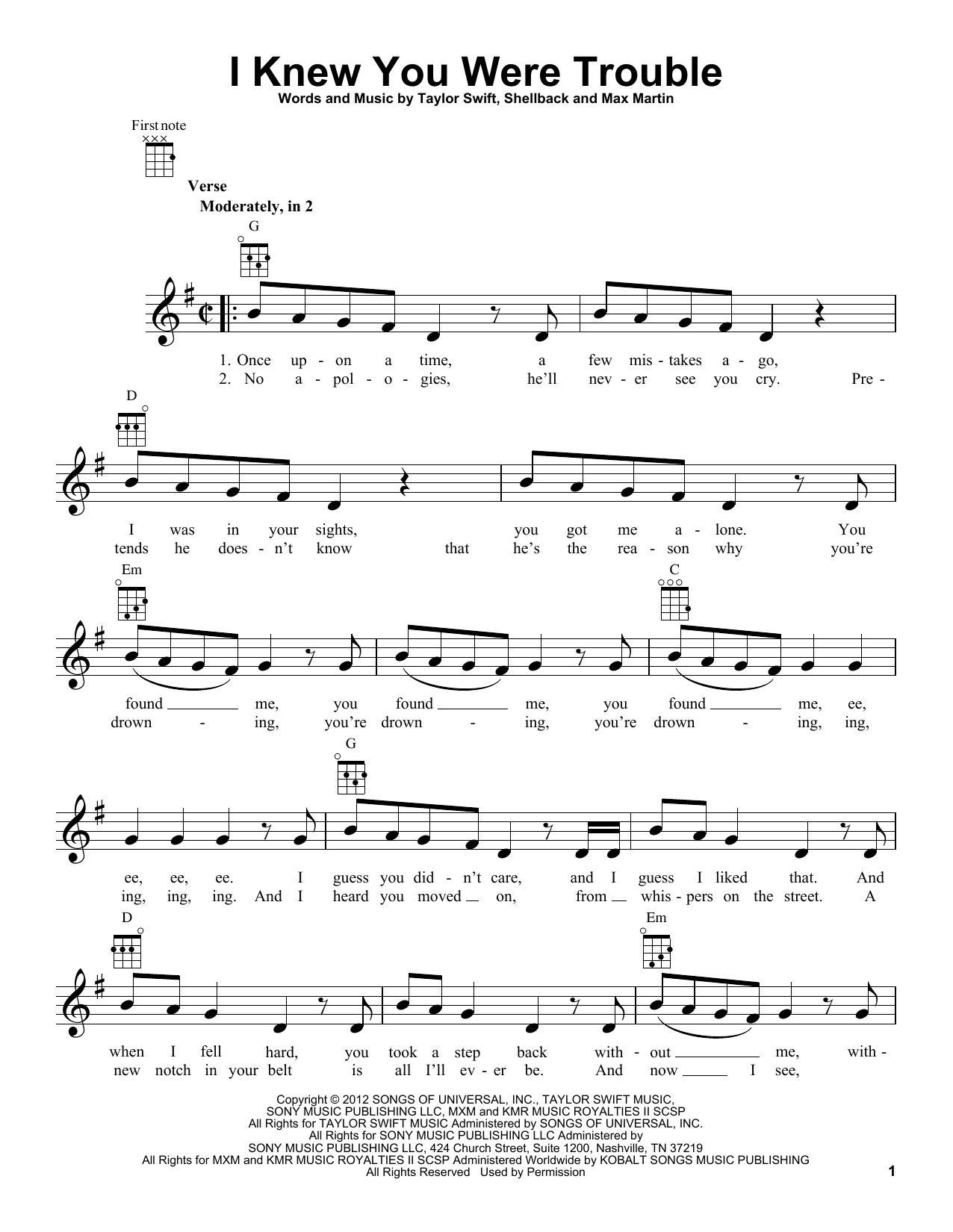 Tablature guitare I Knew You Were Trouble de Taylor Swift - Ukulele