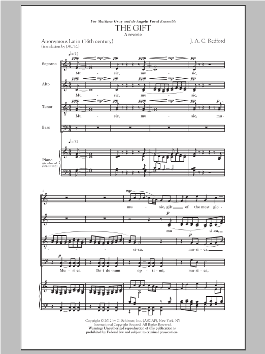 Partition chorale The Gift de J.A.C. Redford - SATB