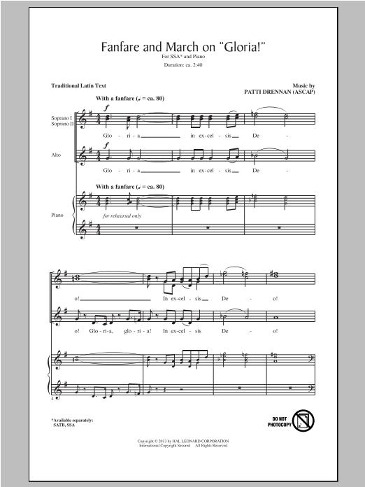 """Partition chorale Fanfare And March On """"Gloria"""" de Patti Drennan - SSA"""