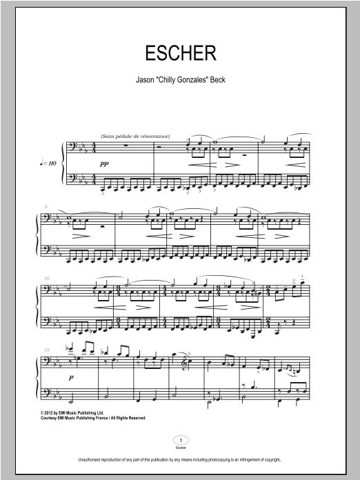 Partition piano Escher de Chilly Gonzales - Piano Solo