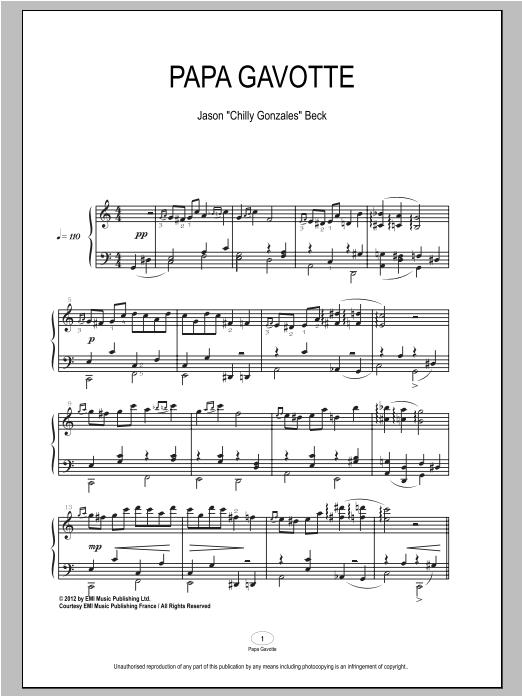 Partition piano Papa Gavotte de Chilly Gonzales - Piano Solo