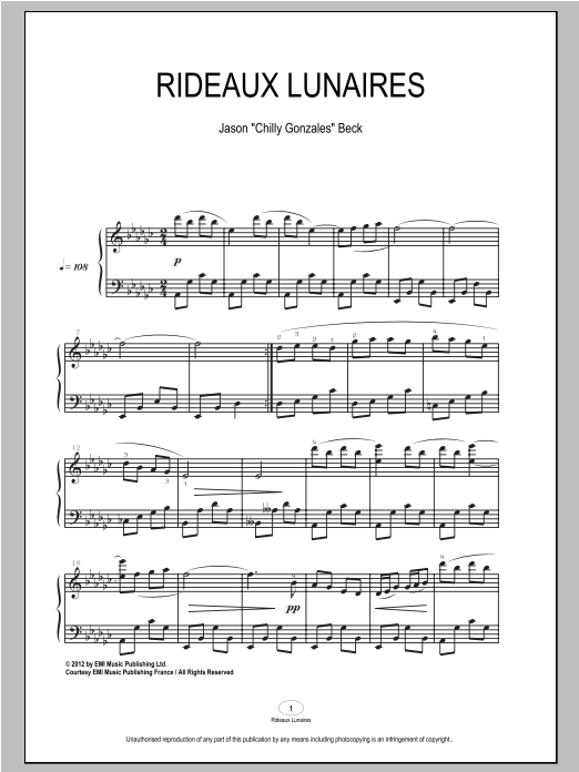 Rideaux Lunaires Sheet Music