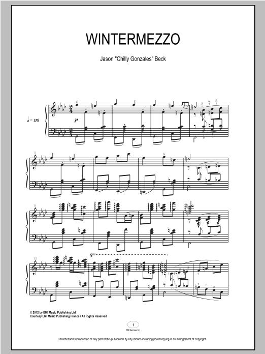 Partition piano Wintermezzo de Chilly Gonzales - Piano Solo