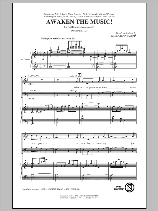 Awaken The Music sheet music for choir and piano (SATB) by Greg Gilpin