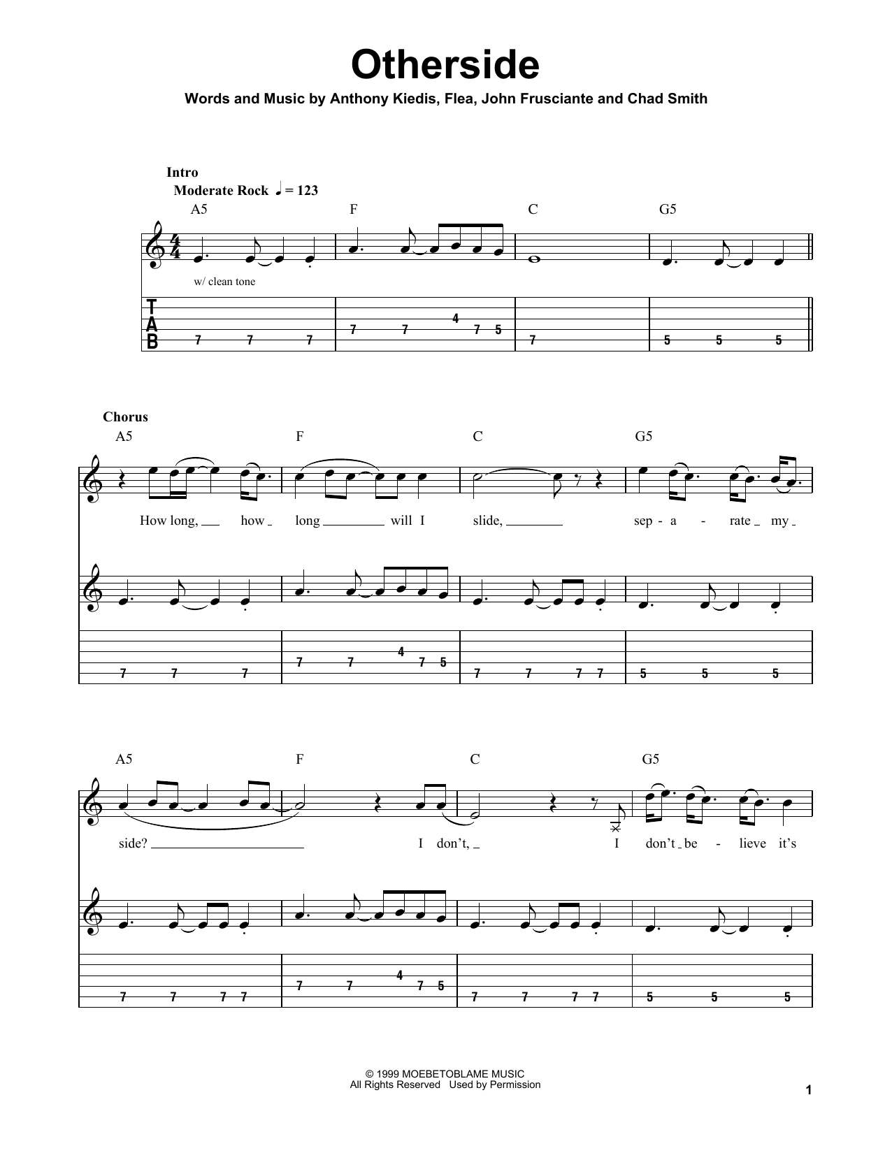 Tablature guitare Otherside de Red Hot Chili Peppers - Tablature guitare facile