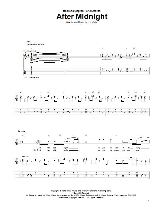Tablature guitare After Midnight de Eric Clapton - Tablature Guitare
