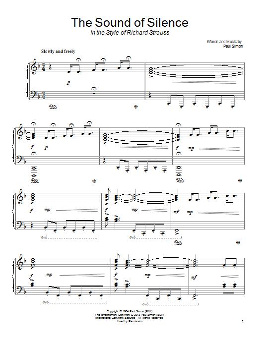Partition piano The Sound Of Silence de Simon & Garfunkel - Piano Solo