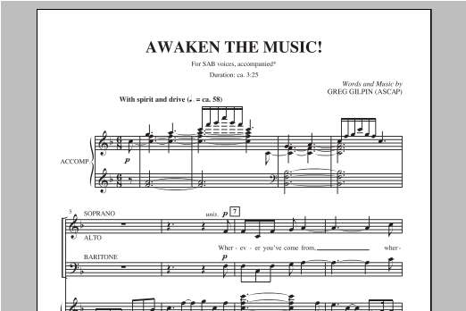 Partition chorale Awaken The Music de Greg Gilpin - SAB
