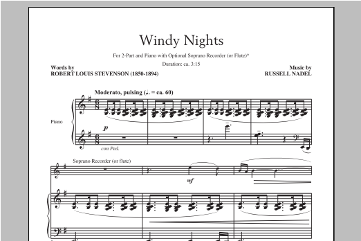 Partition chorale Windy Nights de Russell Nadel - 2 voix