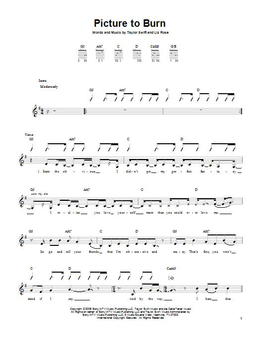 Tablature guitare Picture To Burn de Taylor Swift - Tablature guitare facile