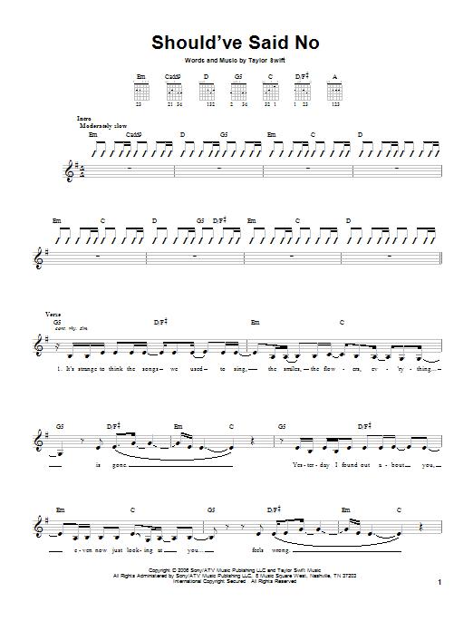 Tablature guitare Should've Said No de Taylor Swift - Tablature guitare facile