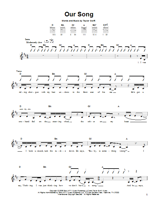 Tablature guitare Our Song de Taylor Swift - Tablature guitare facile